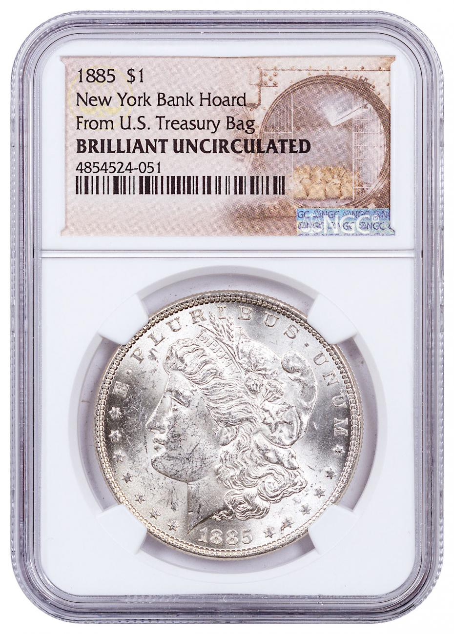 1885 Morgan Silver Dollar From the New York Bank Hoard NGC BU