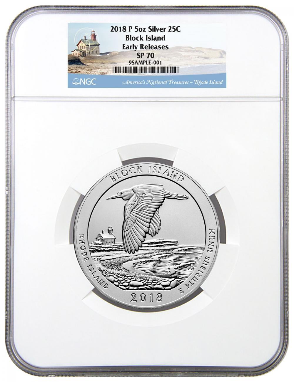 2018 Block Island 5 oz. Silver America the Beautiful Specimen Coin NGC SP70 ER