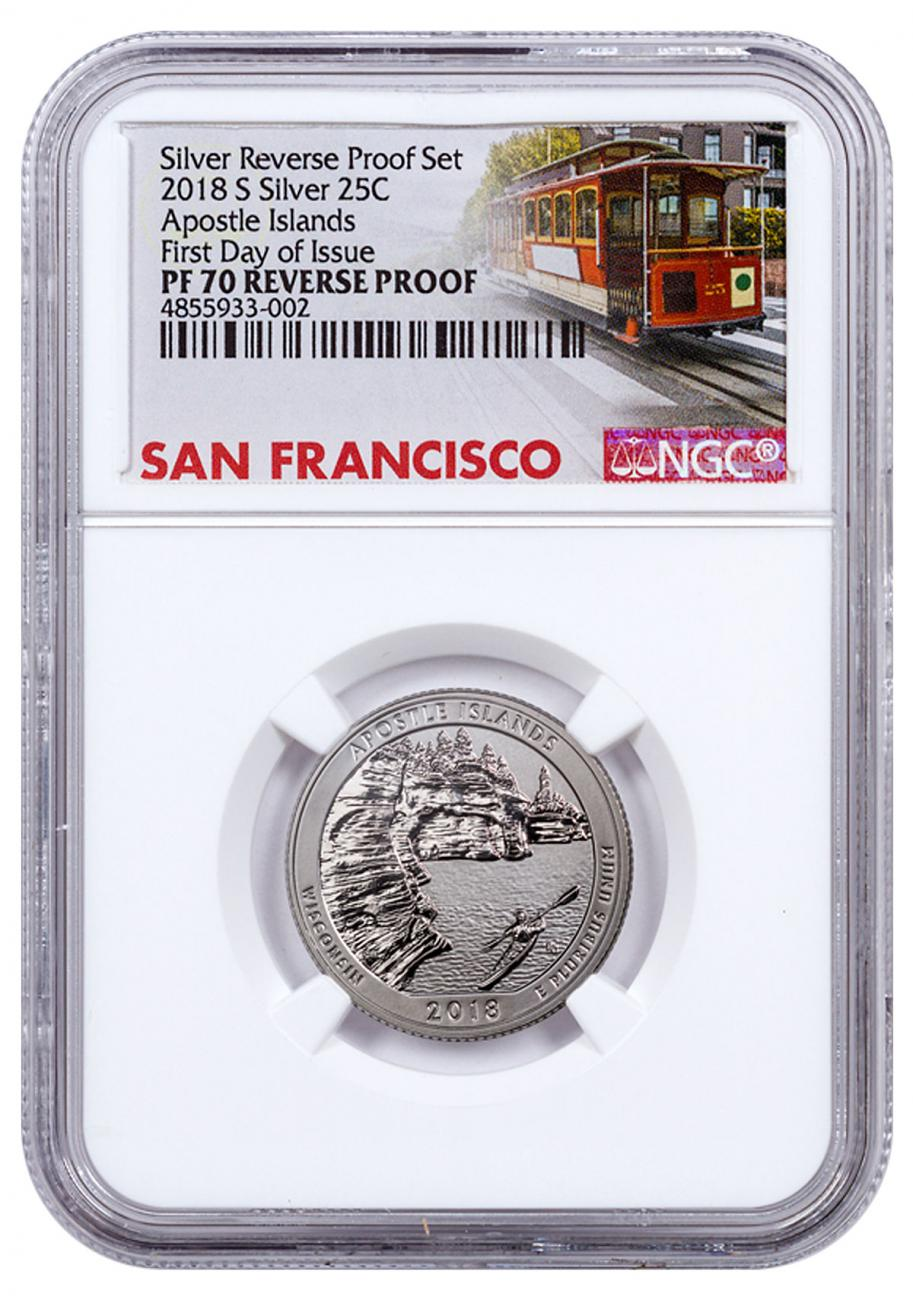2018-S Silver Apostle Islands Reverse Proof America the Beautiful Quarter NGC PF70 FDI Trolley Label