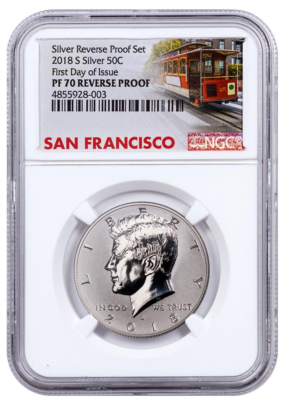 2018-S Silver Reverse Proof Kennedy Half Dollar NGC PF70 FDI Trolley Label