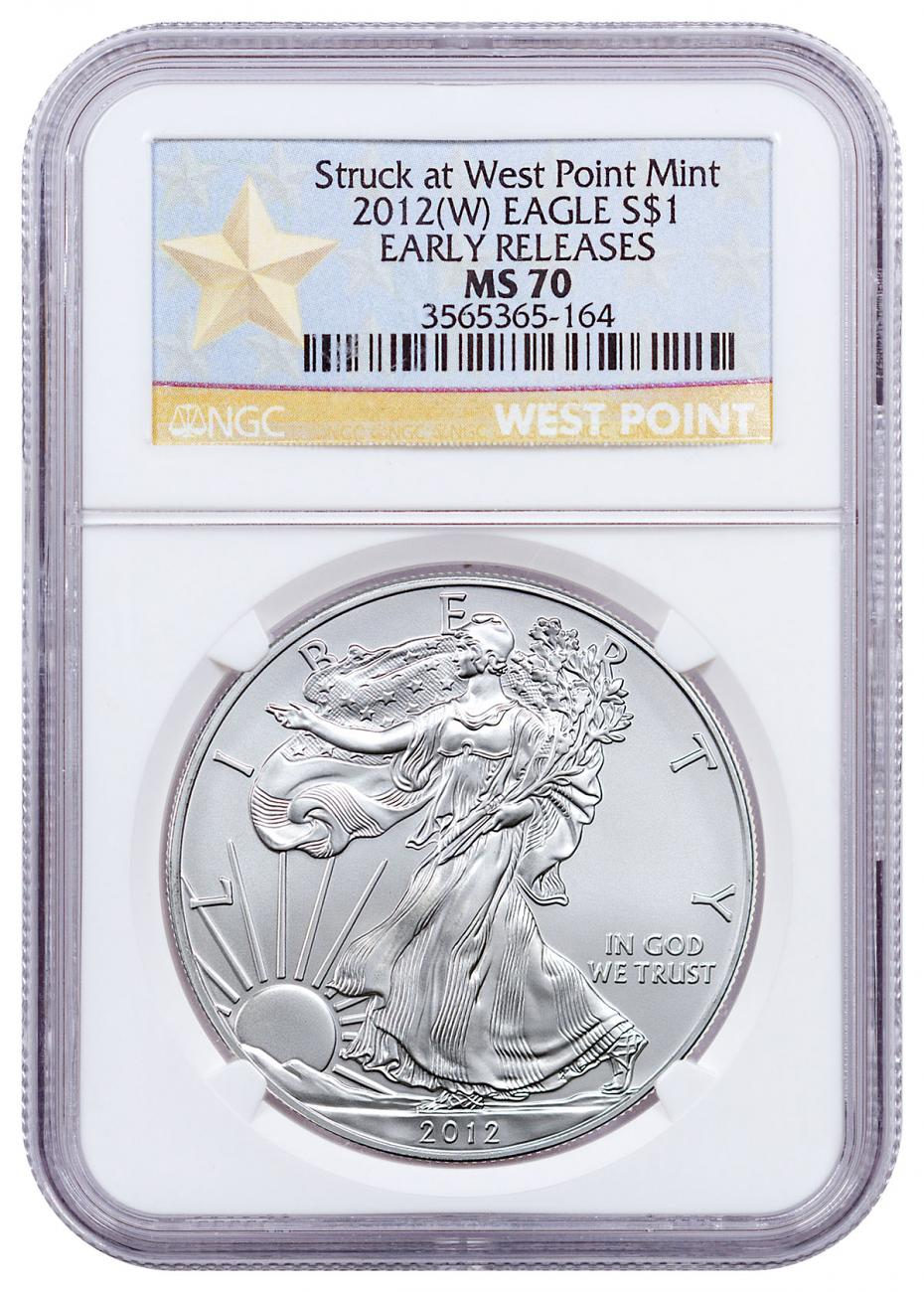 2012-(W) Silver Eagle Struck at West Point NGC MS70 ER (West Point Gold Star Label)