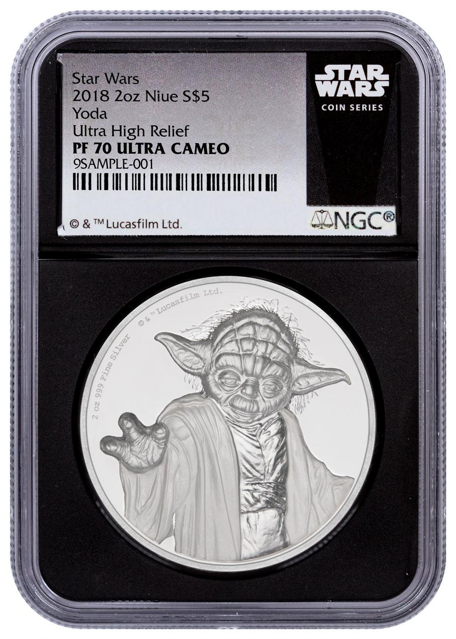 2018 Niue Star Wars - Yoda Ultra High Relief 2 oz Silver Proof $5 Coin NGC PF70 UC Black Core Holder Star Wars Label