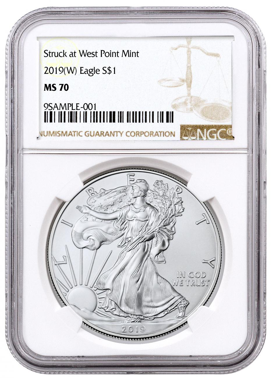 2019-(W) American Silver Eagle Struck at West Point NGC MS70 Brown Label
