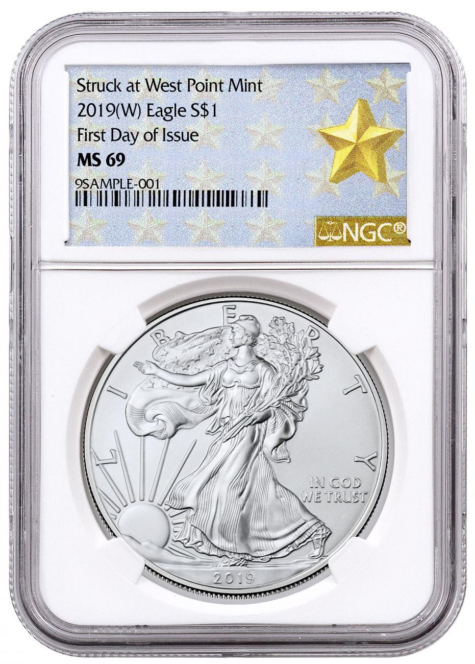 2019-(W) American Silver Eagle Struck at West Point NGC MS69 FDI West Point Gold Star Label