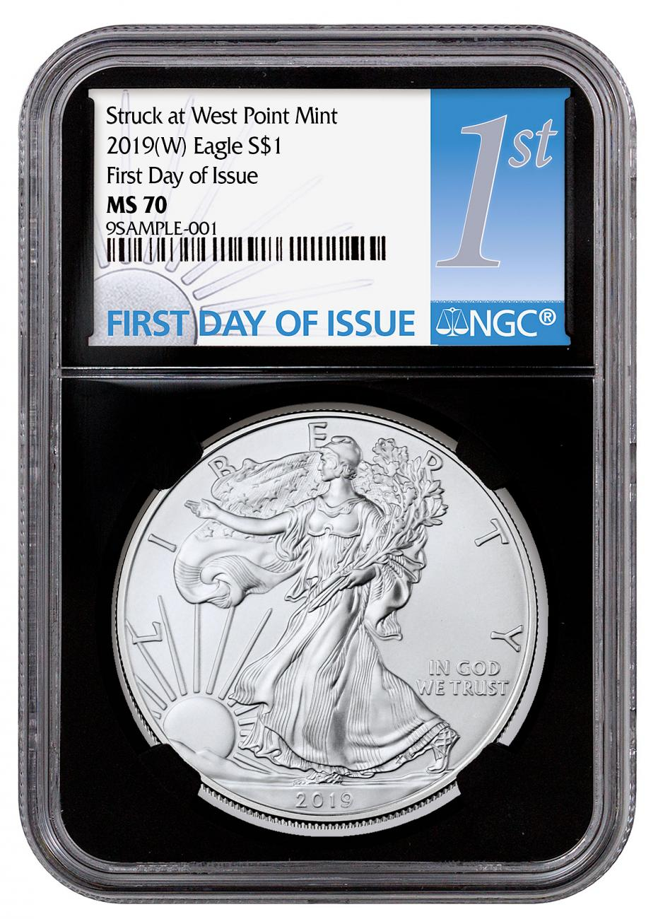 2019-(W) American Silver Eagle Struck at West Point NGC MS70 FDI Black Core Holder