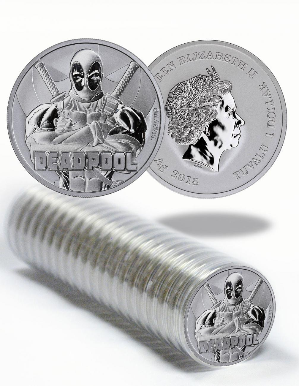 Roll of 20 - 2018 Tuvalu Deadpool 1 oz Silver Marvel Series $1 Coins GEM BU