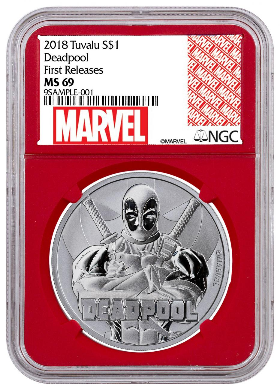 2018 Tuvalu Deadpool 1 oz Silver Marvel Series $1 Coin NGC MS69 FR Red Core Holder Marvel label