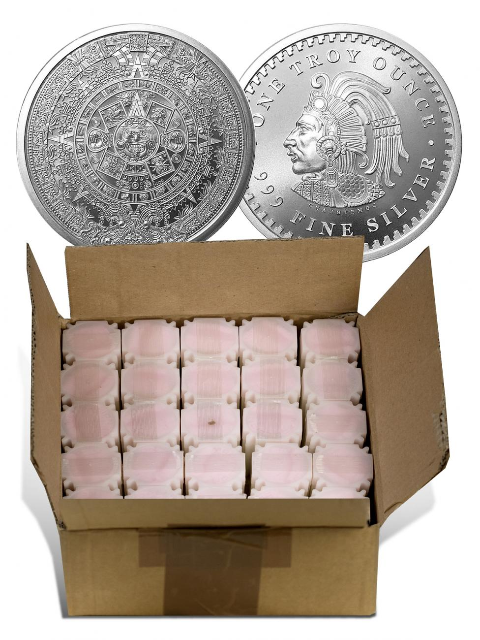 Monster Box of 500 - (2018) Golden State Mint Aztec Calendar 1 oz Silver Round GEM BU