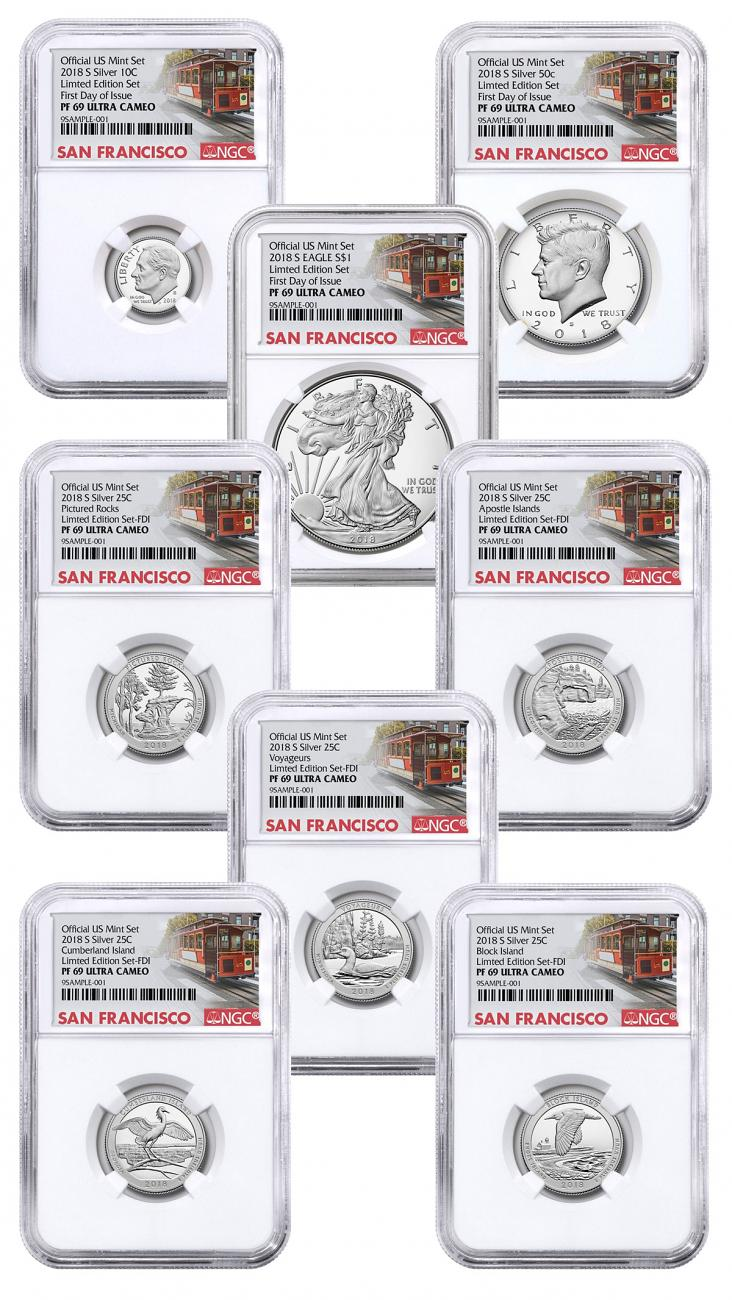 8-Coin Set - 2018-S U.S. Limited Edition Silver Proof Coins Set NGC PF69 UC FDI San Francisco Cable Car Label