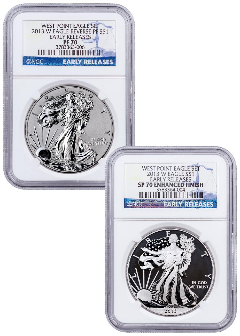 2013-W West Point Silver Eagle 2-Coin Set NGC PF70 ER
