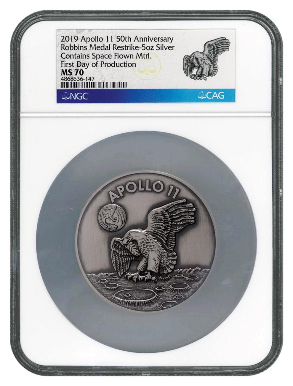 1969-2019 Apollo 11 50th Anniversary Robbins Medals 5 oz Silver with Space Flown Alloy Antiqued Medal Scarce and Unique Coin Division NGC MS70 First Day of Production