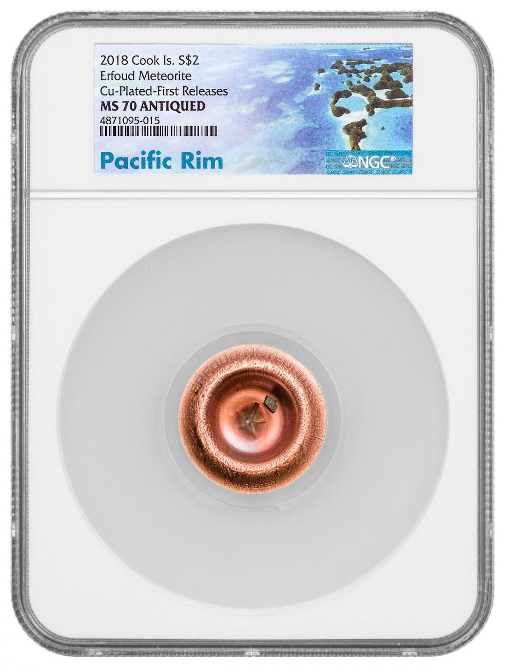 2018 Cook Islands Meteorite Impacts - Erfoud Meteorite 1/2 oz Silver $2 Coin NGC MS70 FR Exclusive Pacific Rim Label