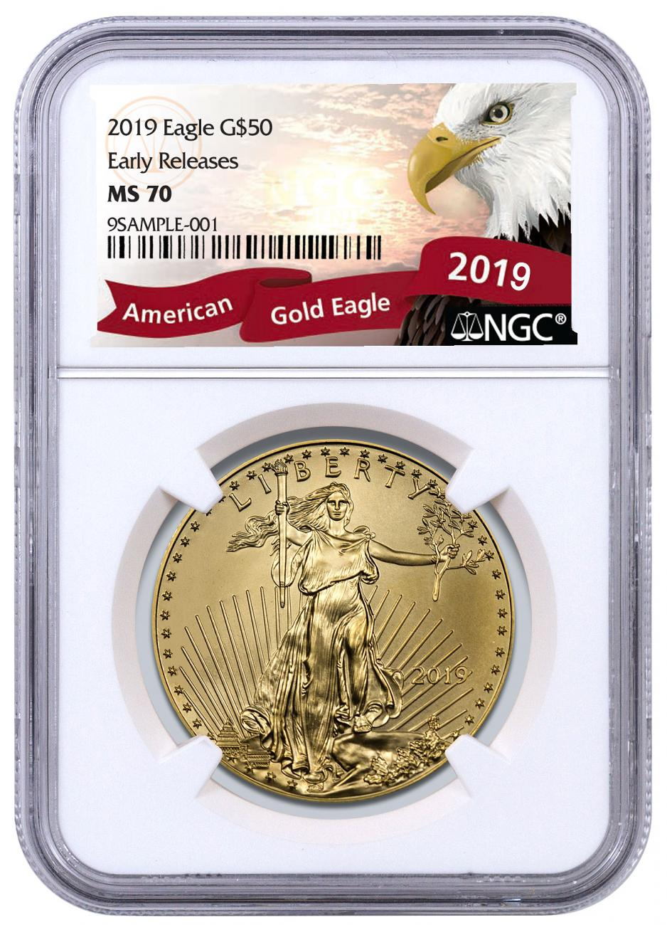 2019 1 oz Gold American Eagle $50 NGC MS70 ER Exclusive Eagle Label