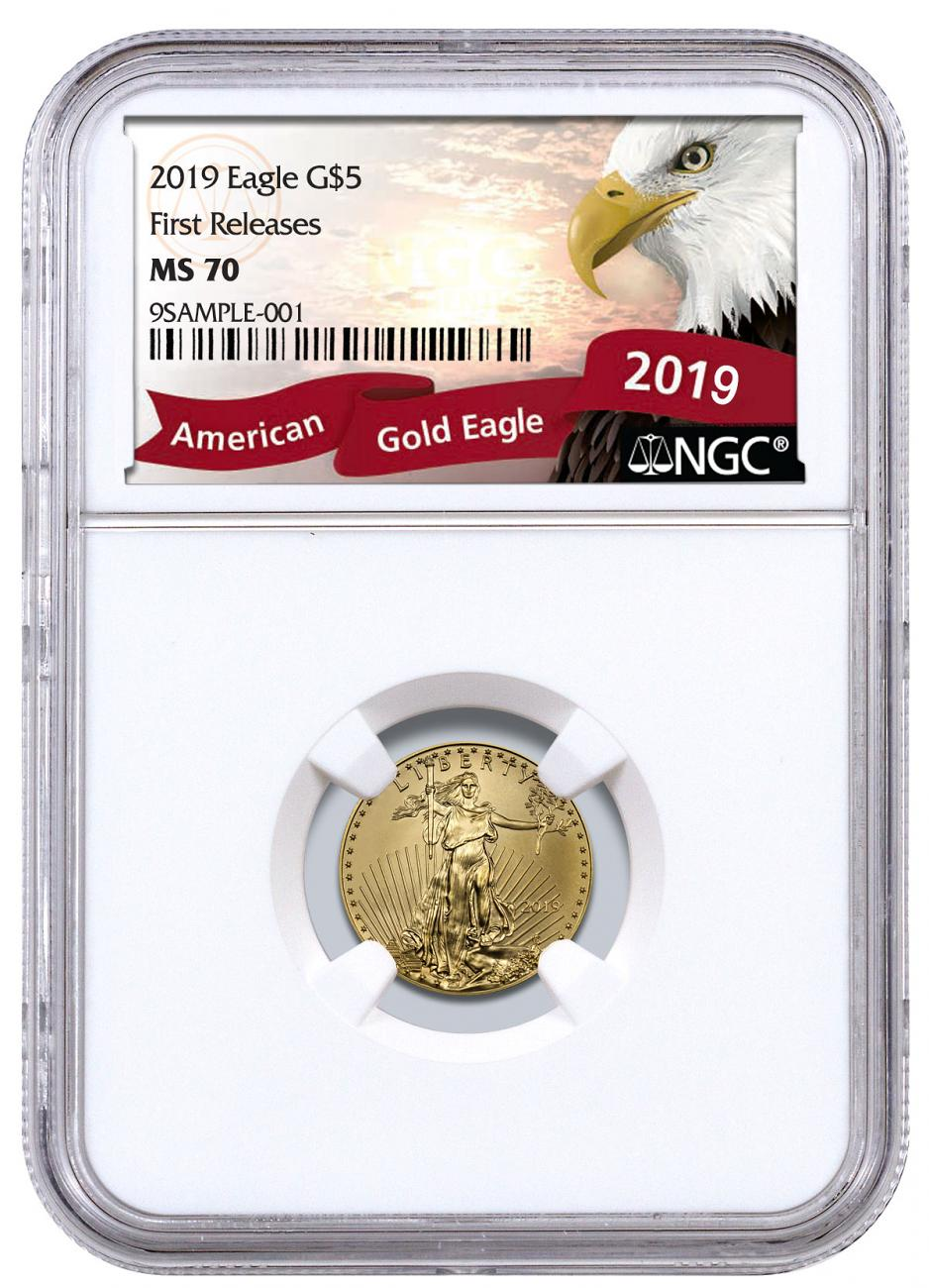 2019 1/10 oz Gold American Eagle $5 NGC MS70 FR Exclusive Eagle Label