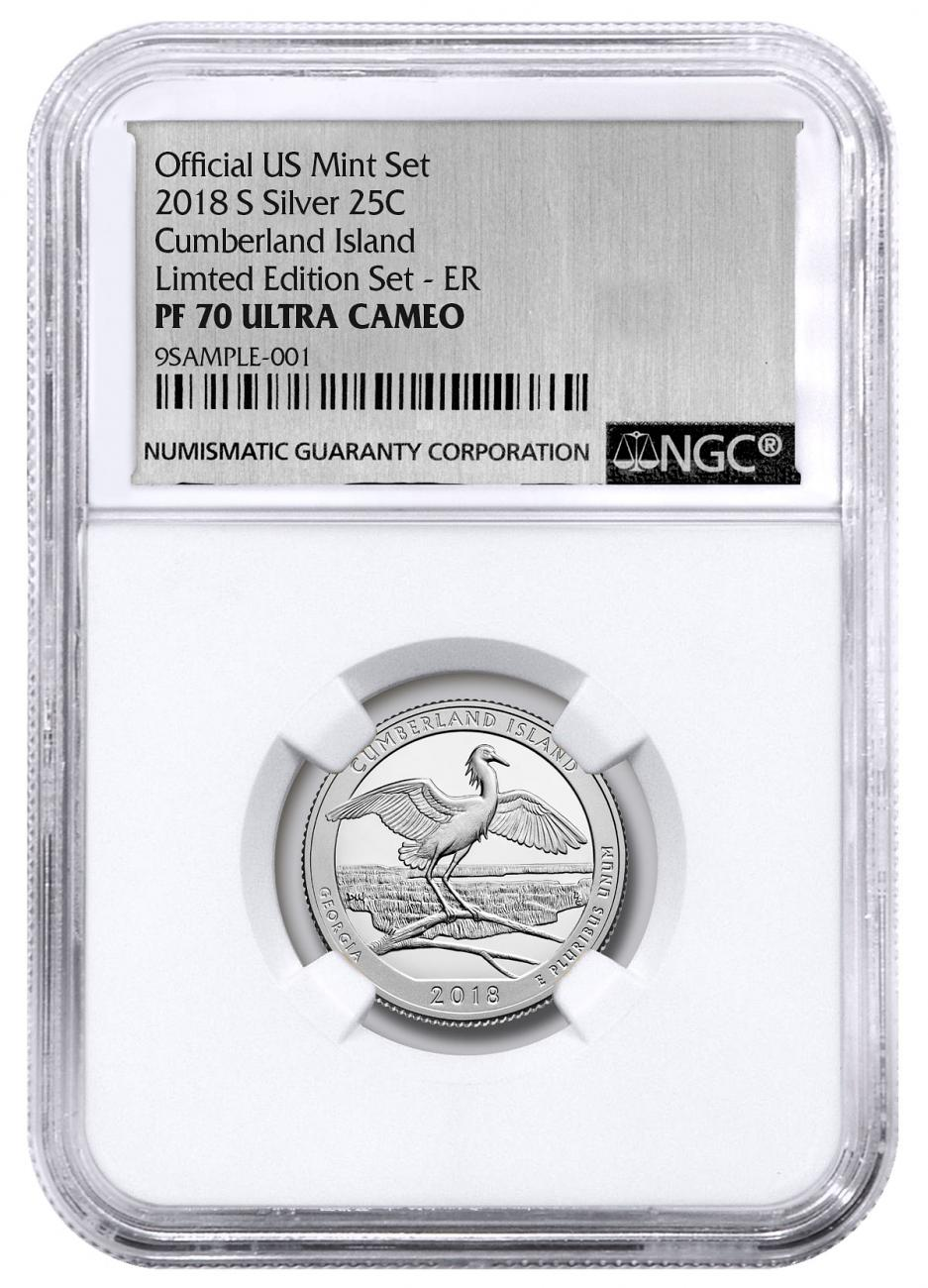 2018-S Silver Cumberland Island Proof America the Beautiful Quarter From Limited Edition Silver Proof Set NGC PF70 UC ER Silver Foil Label
