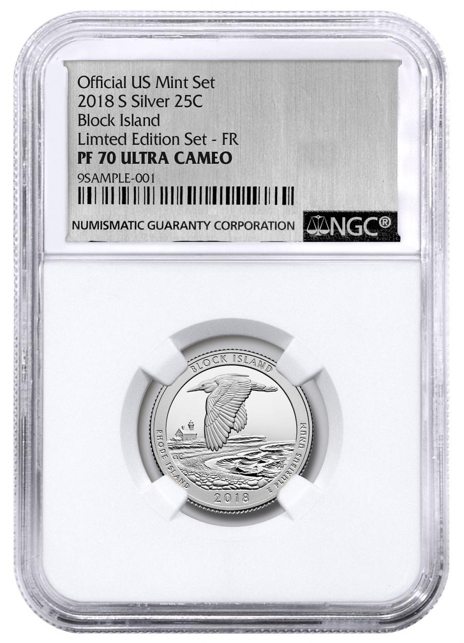 2018-S Silver Block Island Proof America the Beautiful Quarter From Limited Edition Silver Proof Set NGC PF70 UC FR Silver Foil Label