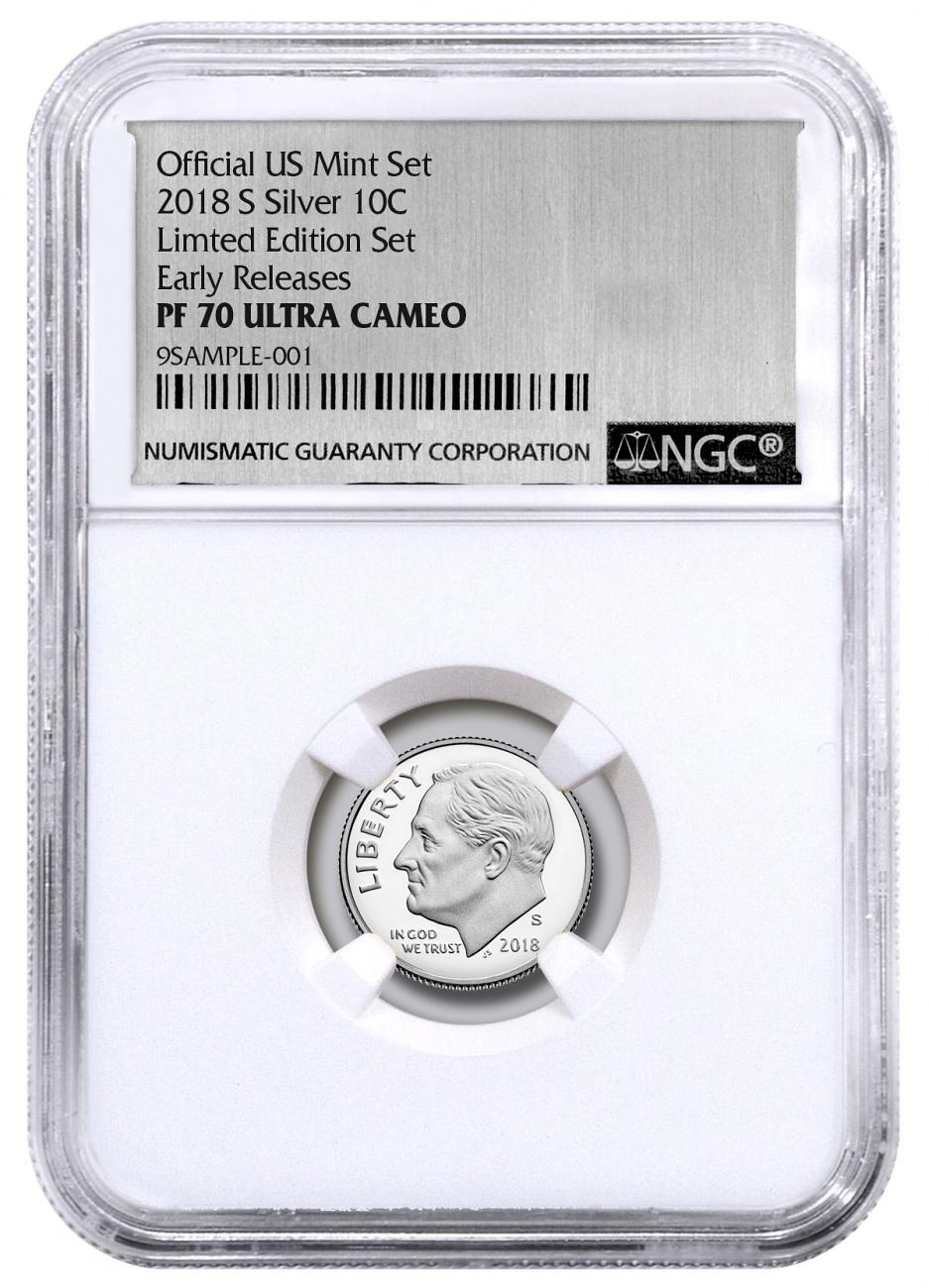 2018-S Silver Proof Roosevelt Dime From Limited Edition Silver Proof Set NGC PF70 UC ER Silver Foil Label