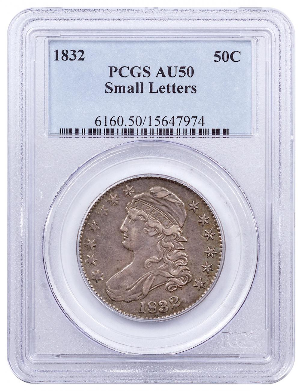1832 Silver Capped Bust Half Dollar Small Letters PCGS AU50