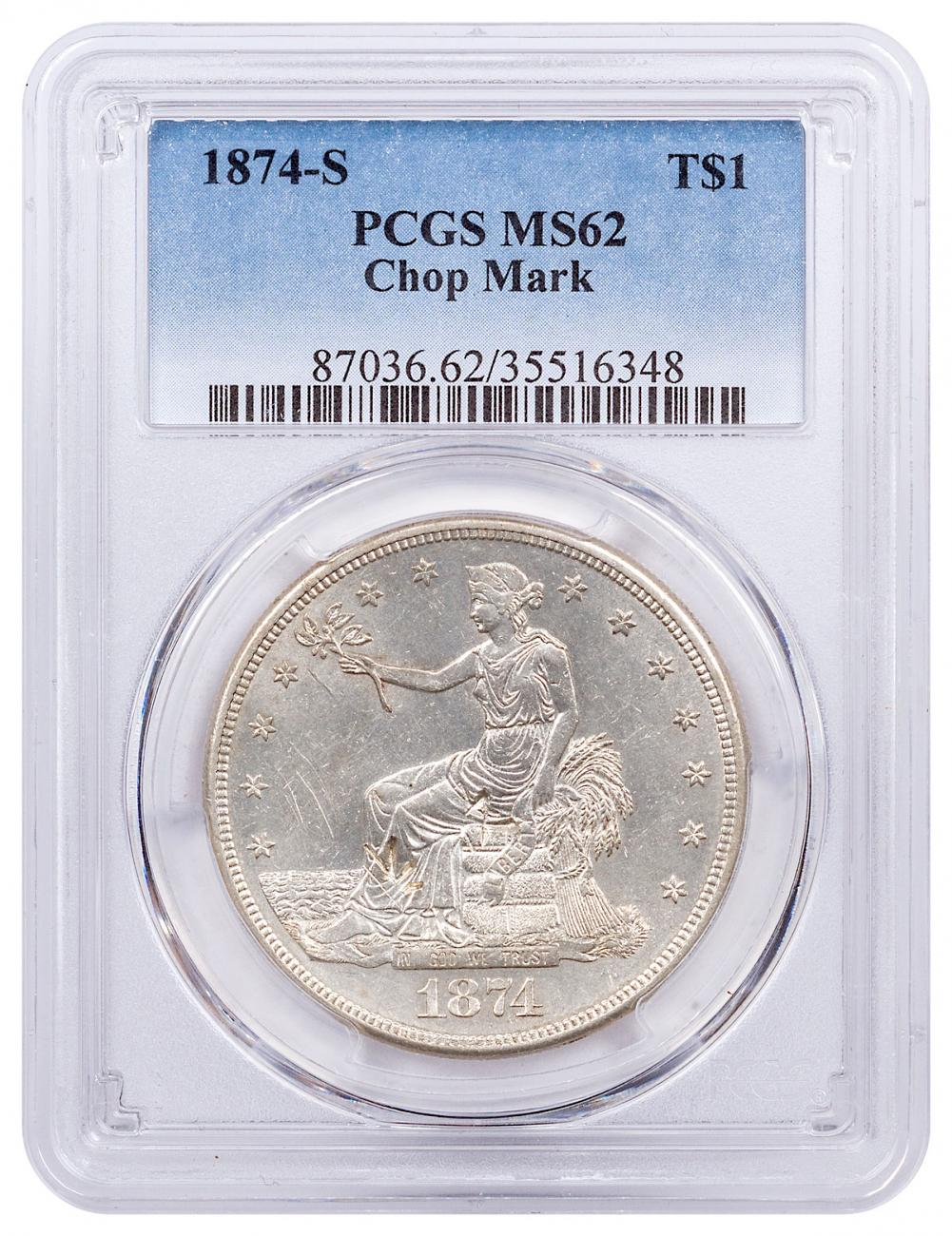 1874-S Silver Trade Dollar Chop Marks PCGS MS62
