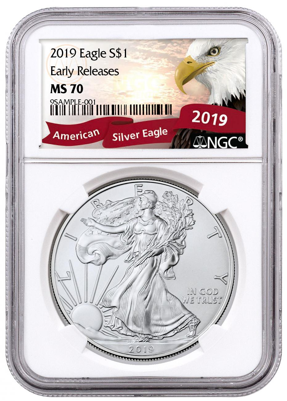 2019 American Silver Eagle NGC MS70 ER Exclusive Eagle Label