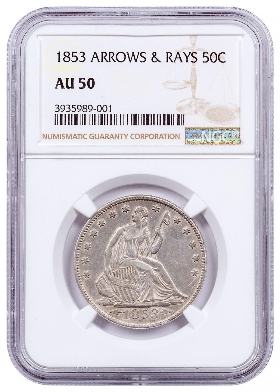 1853 Silver Arrows and Rays Seated Liberty Half Dollar NGC AU50 1 Year Mint Issue!