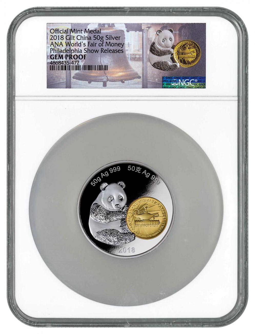 2018 China Philadelphia ANA World's Fair of Money Show Panda 50 g Silver Gilt Proof Medal NGC GEM Proof Philadelphia Show Releases World Money Fair Label