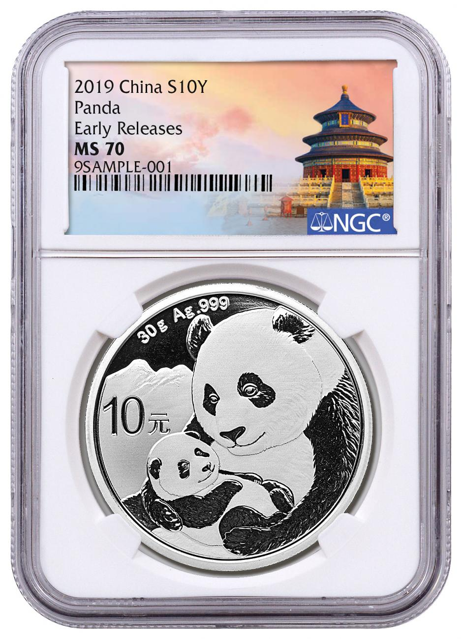 2019 China 30 g Silver Panda ¥10 Coin NGC MS70 ER Exclusive Temple Label