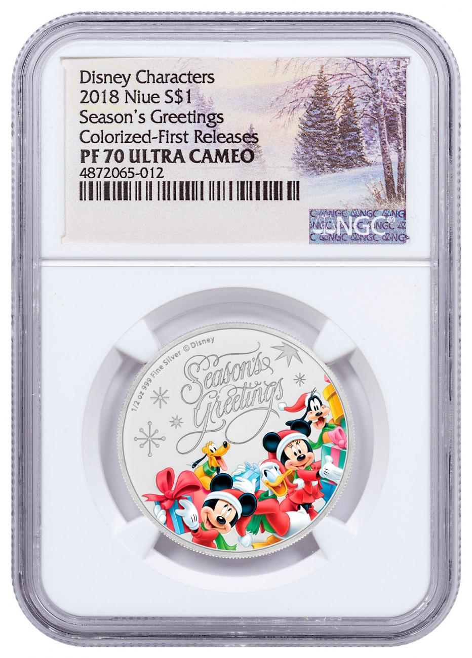 2018 Niue Disney Season's Greetings 1/2 oz Silver Colorized Proof $1 Coin NGC PF70 UC FR Holiday Label