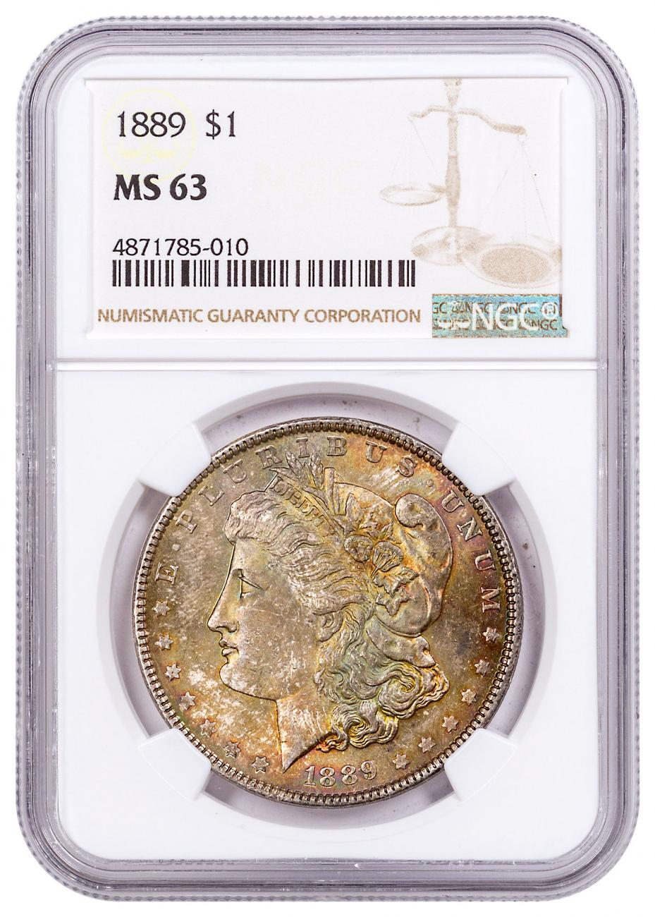 1889 Morgan Silver Dollar Toned NGC MS64 CPCR 5010