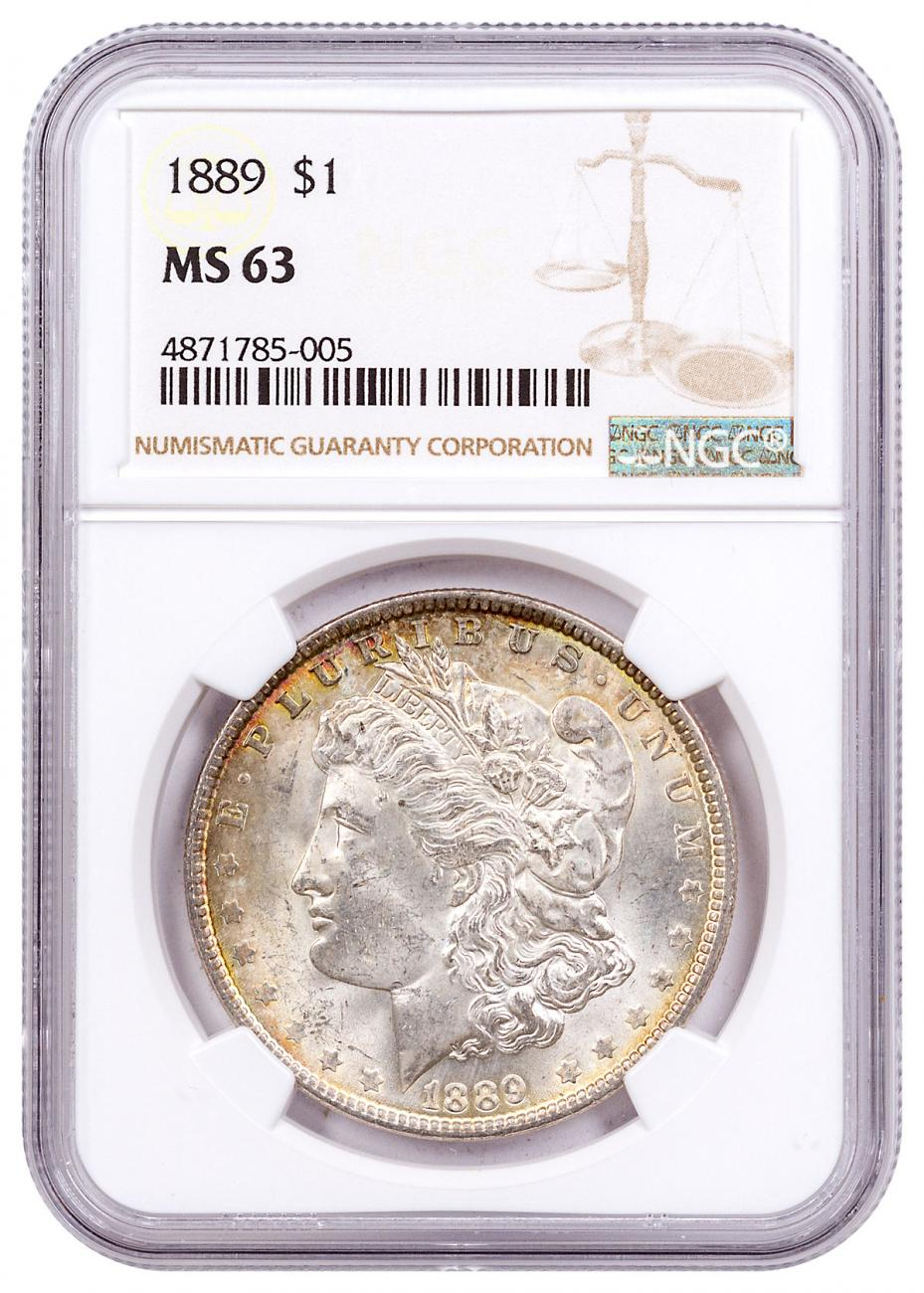 1889 Morgan Silver Dollar Toned NGC MS63 CPCR 5005