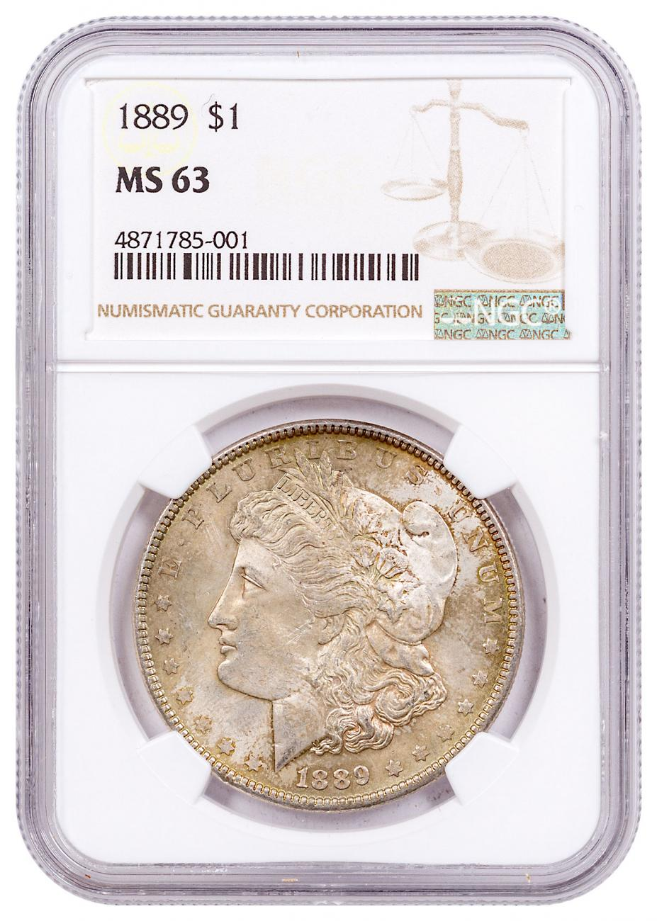 1889 Morgan Silver Dollar Toned NGC MS63 CPCR 5001