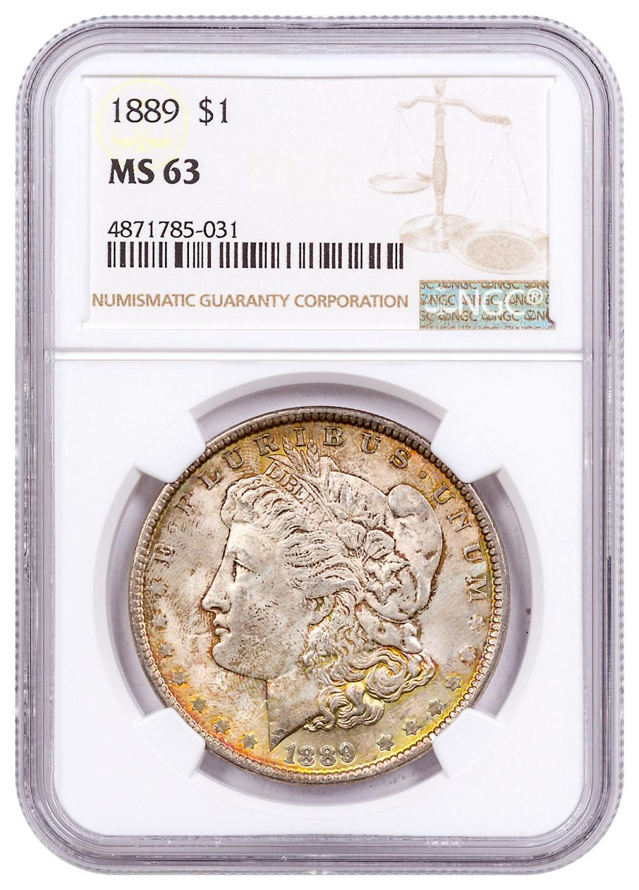 1889 Morgan Silver Dollar Toned NGC MS63 CPCR 5031