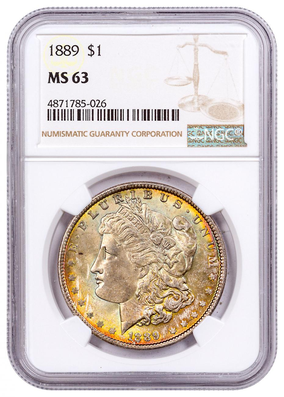 1889 Morgan Silver Dollar Toned NGC MS63 CPCR 5026