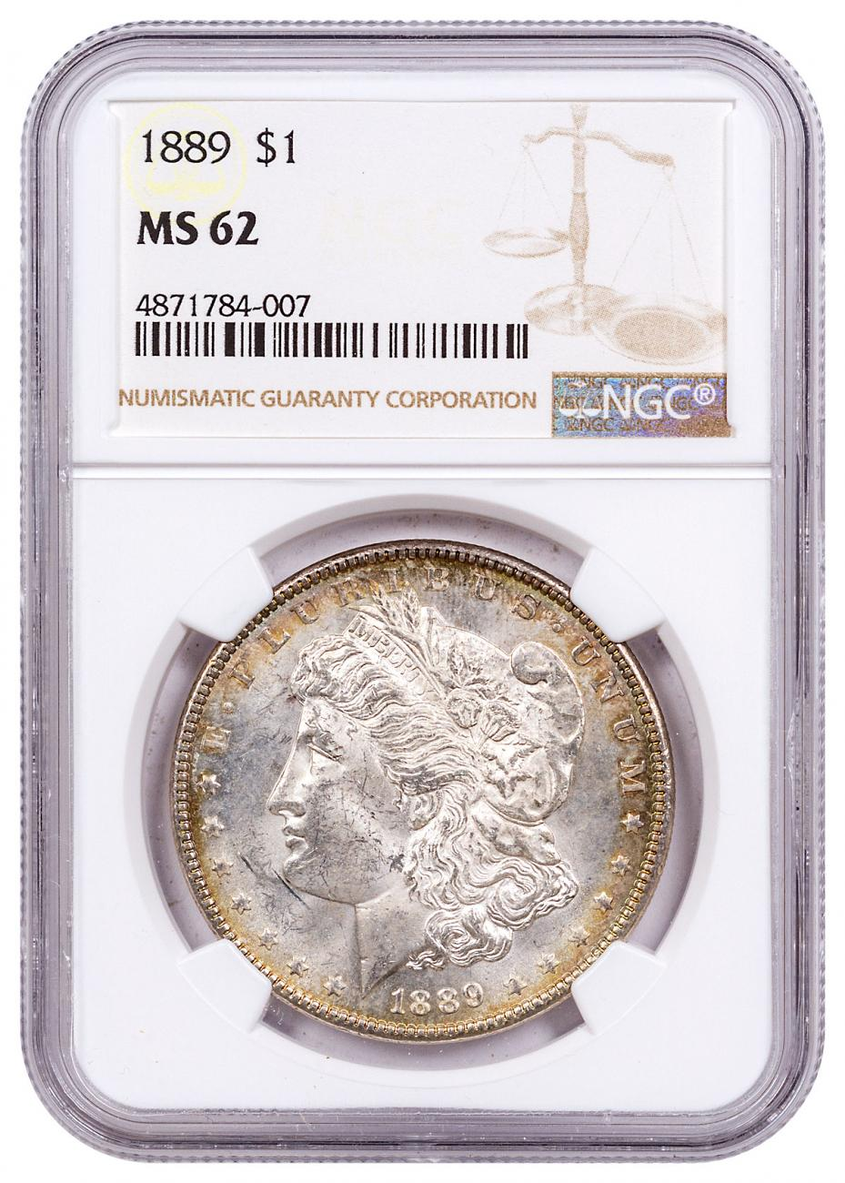 1889 Morgan Silver Dollar Toned NGC MS62 CPCR 4007