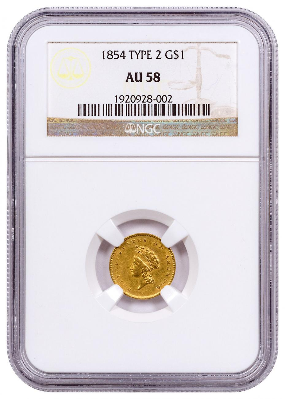 1854 Gold Type 2 Indian Princess NGC AU58