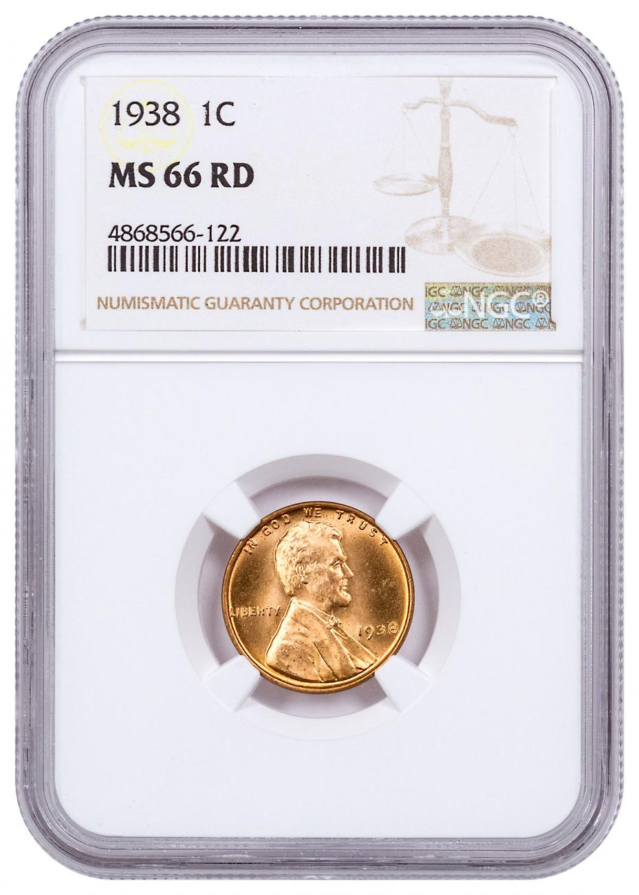 1938 Lincoln Cent NGC MS66 RD
