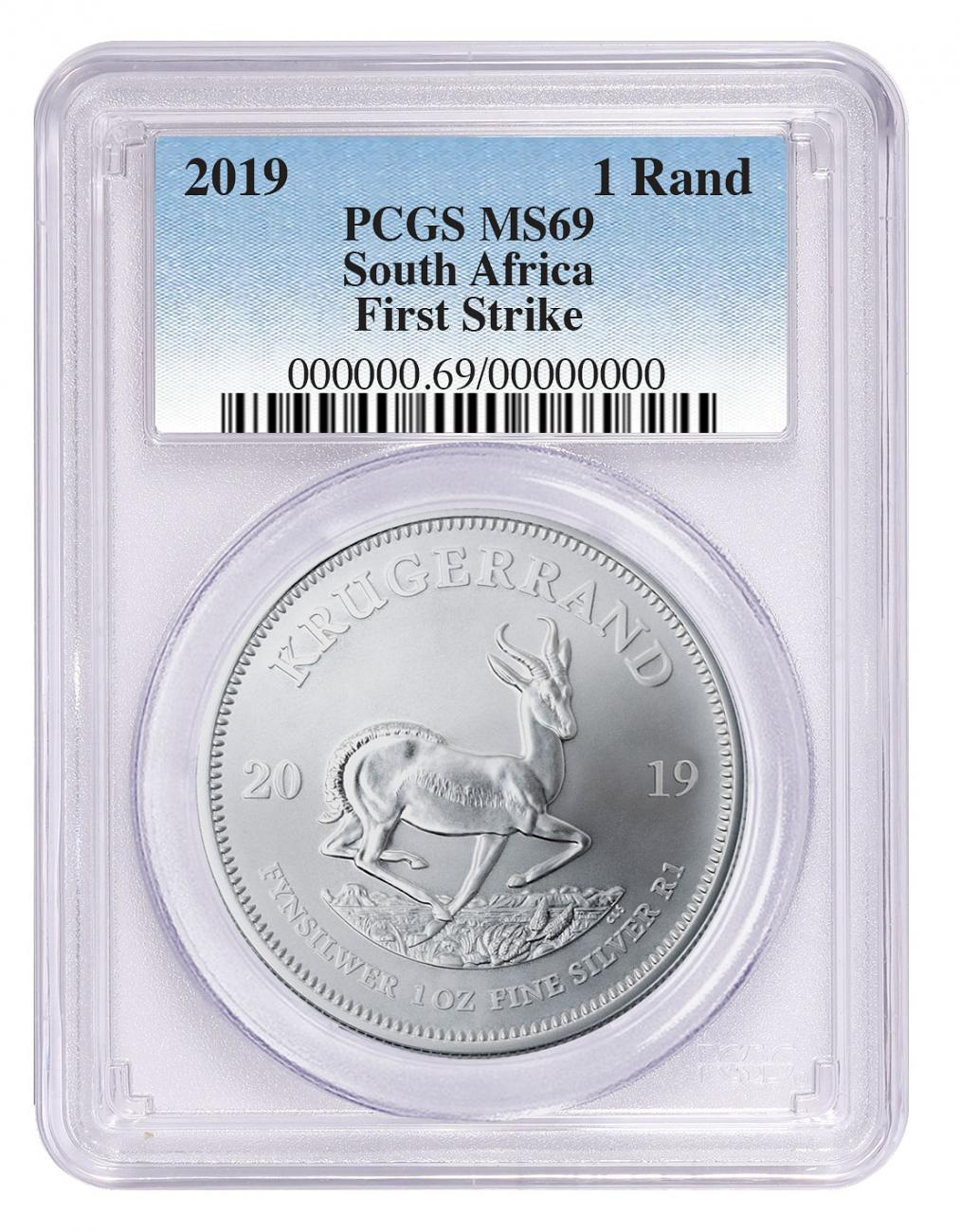 2019 South Africa 1 oz Silver Krugerrand 1 Coin PCGS MS69 FS