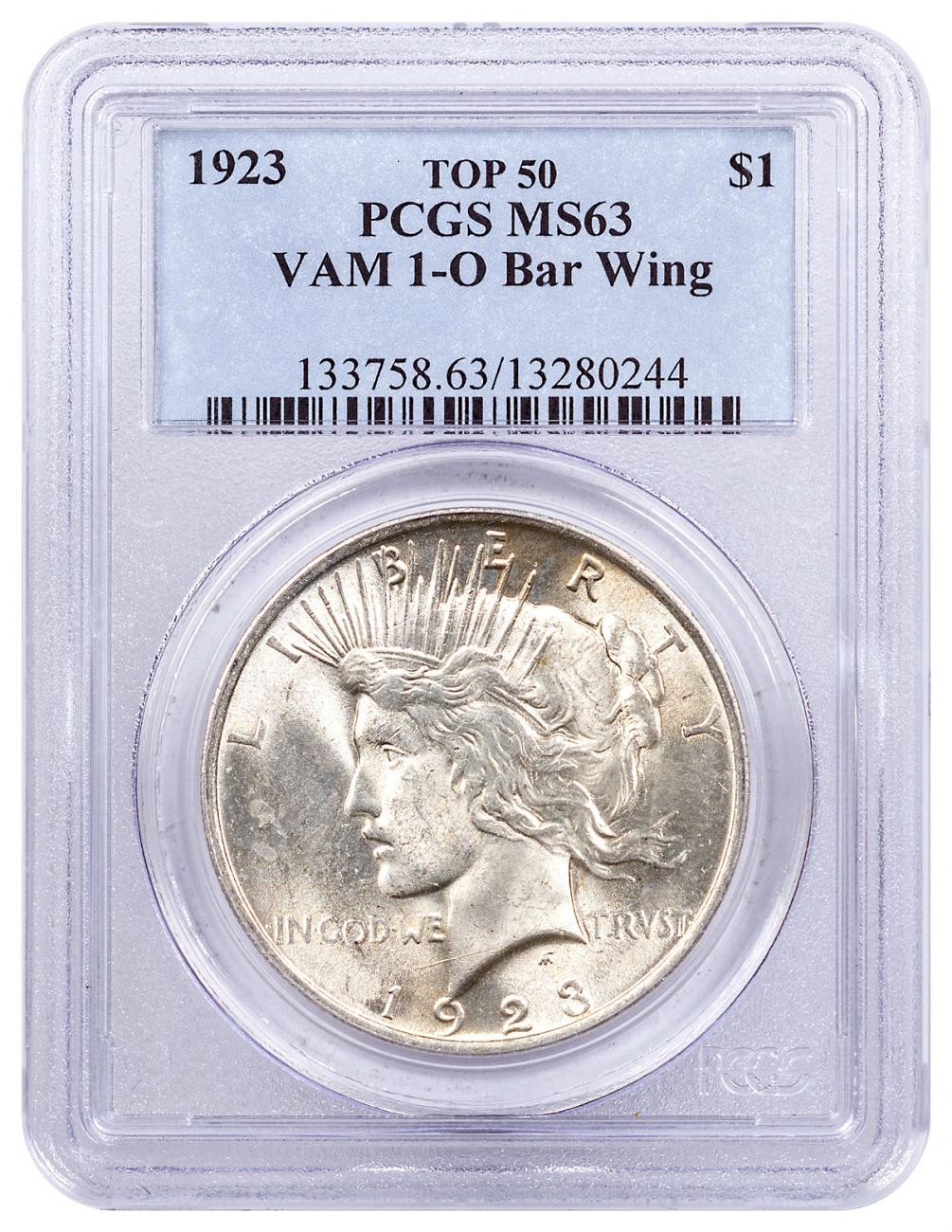 1923 Silver Peace Dollar Top 50 PCGS MS63 VAM-1 O Bar Wing