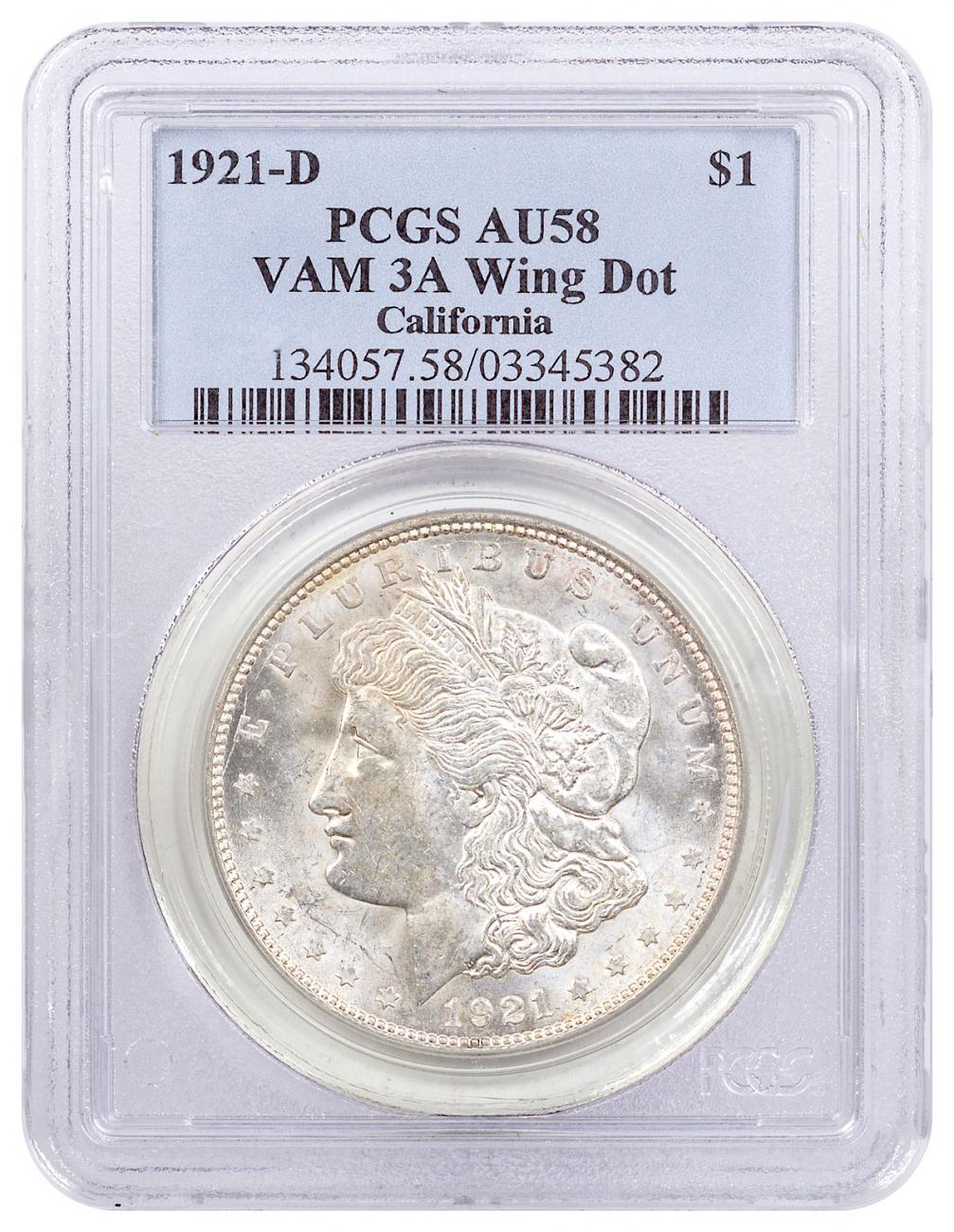 1921-D Morgan Silver Dollar PCGS AU58 VAM-3A Wing Dot California