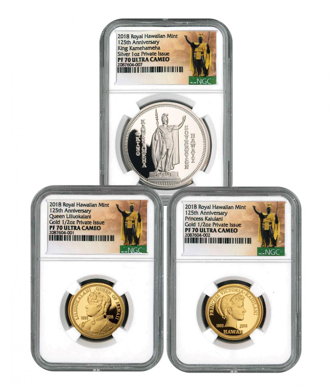2018 Royal Hawaiian Mint King Kalakaua I 125th Anniversary 3-Coin Set Gold + Silver Proof Medal NGC PF70