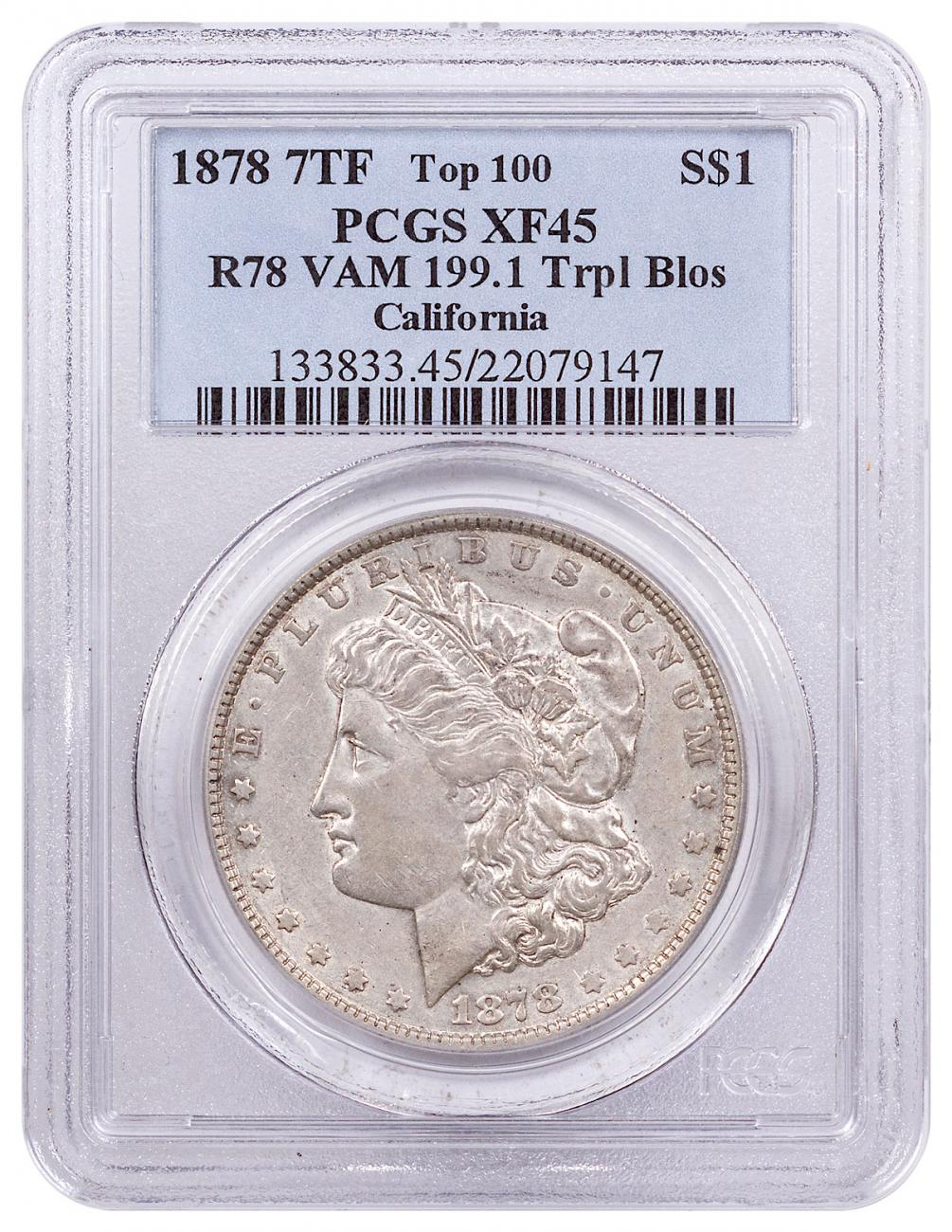 1878 Morgan Silver Dollar (7/8TF Weak) Top 100 PCGS XF45 R78 VAM-199.1 Trpl Blos California