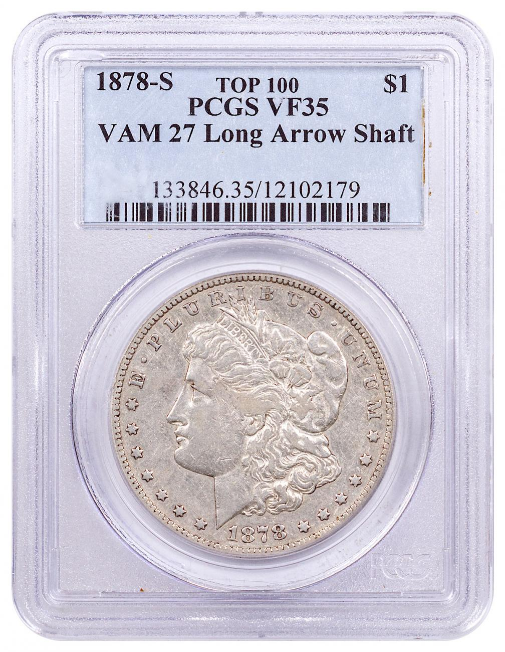 1878-S Morgan Silver Dollar Top 100 PCGS VF35 VAM-27 Long Arrow Shaft