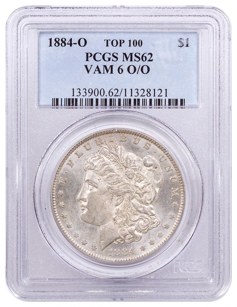 1884-O Morgan Silver Dollar Top 100 PCGS MS62 VAM 6 O/O