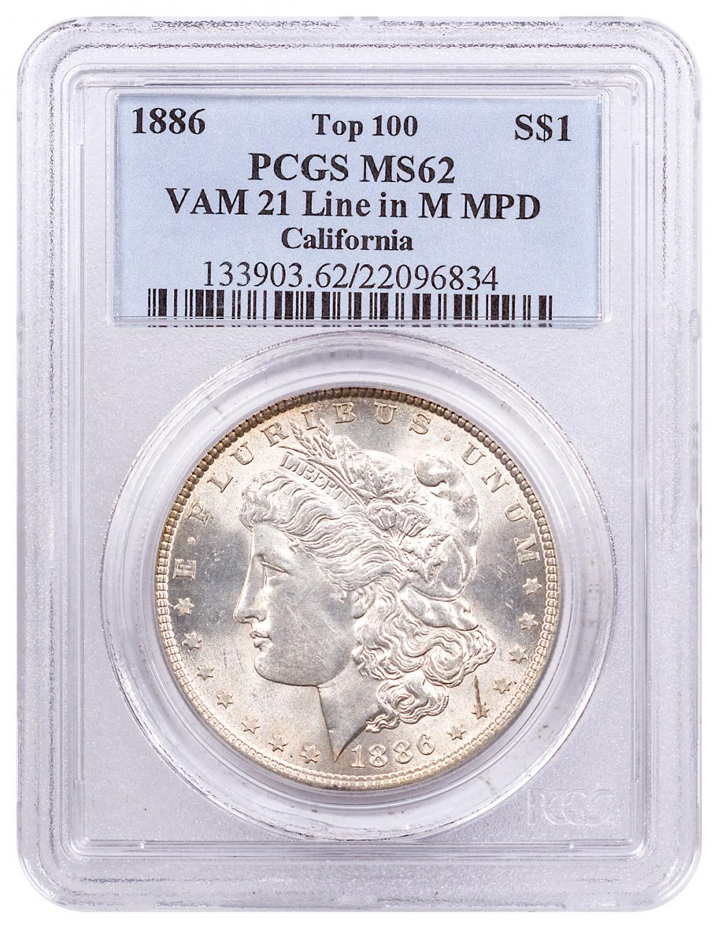 1886 Morgan Silver Dollar Top 100 PCGS MS62 VAM-21 Line in M California