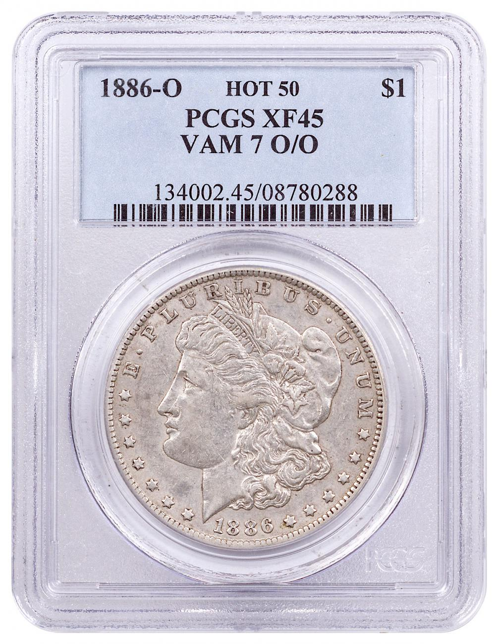 1886-O Morgan Silver Dollar Hot 50 PCGS XF45 VAM-7 O/O