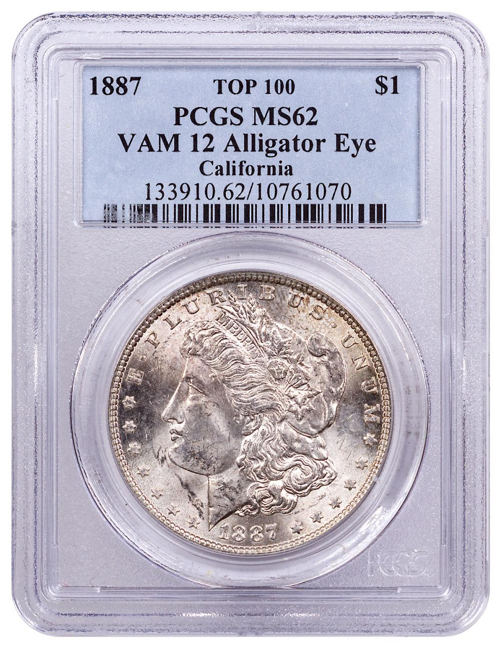 1887 Morgan Silver Dollar Top 100 PCGS MS62 VAM-12 Alligator Eye California