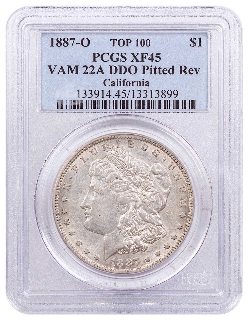1887-O Morgan Silver Dollar Top 100 PCGS XF45 VAM-22A DDO Pitted Reverse California