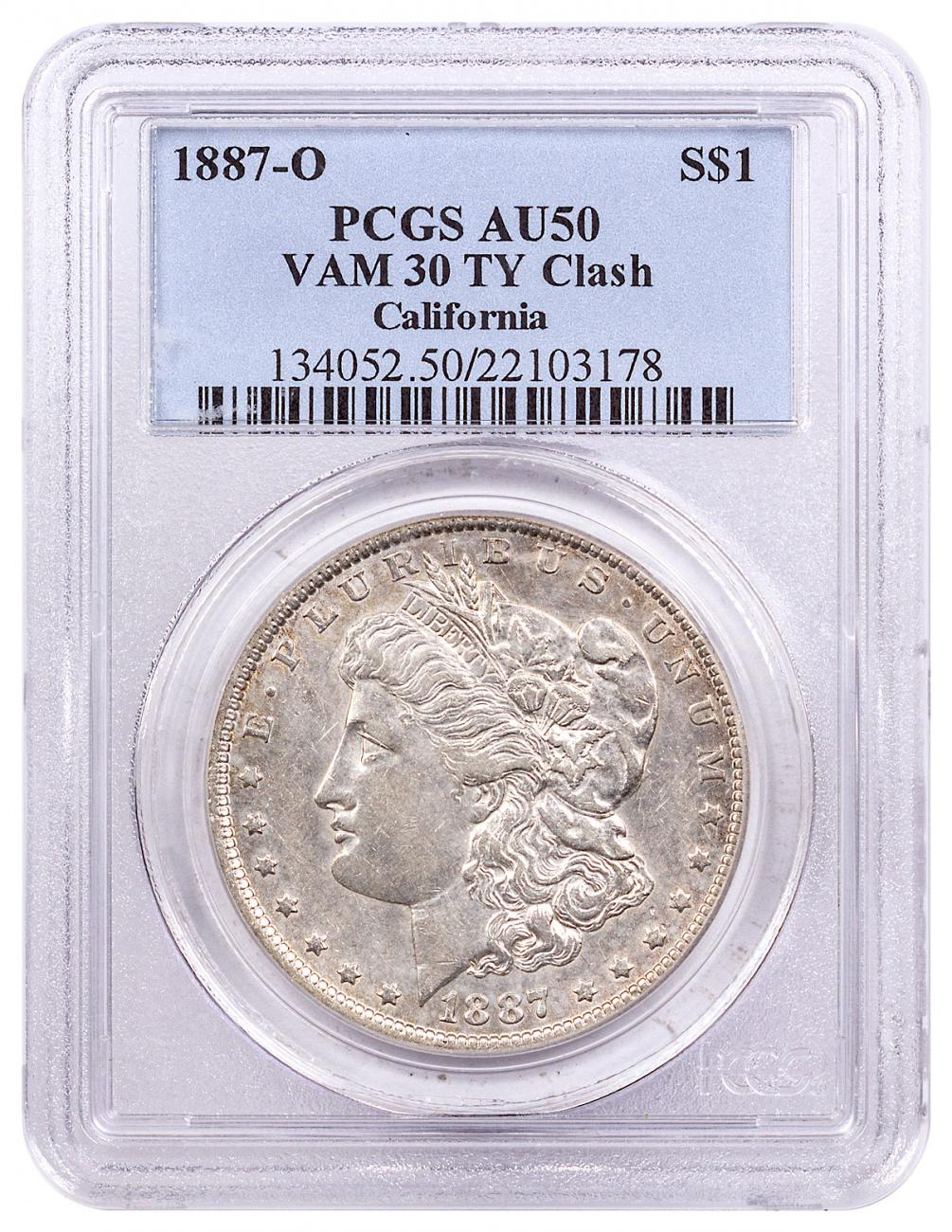 1887-O Morgan Silver Dollar PCGS AU50 VAM-30 TY Clash California