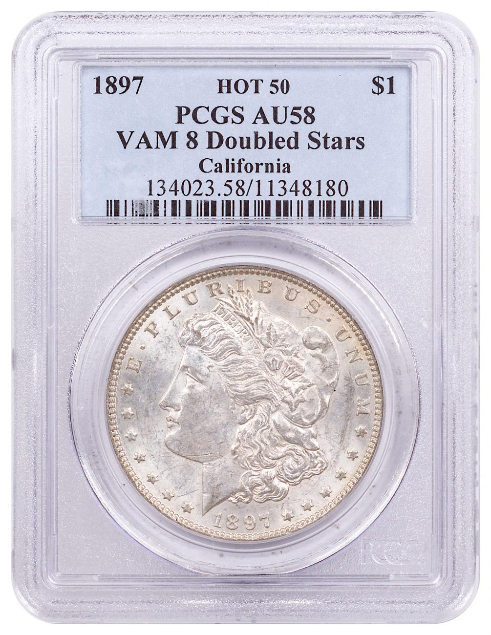 1897 Morgan Silver Dollar Hot 50 PCGS AU58 VAM-8 Doubled Stars California