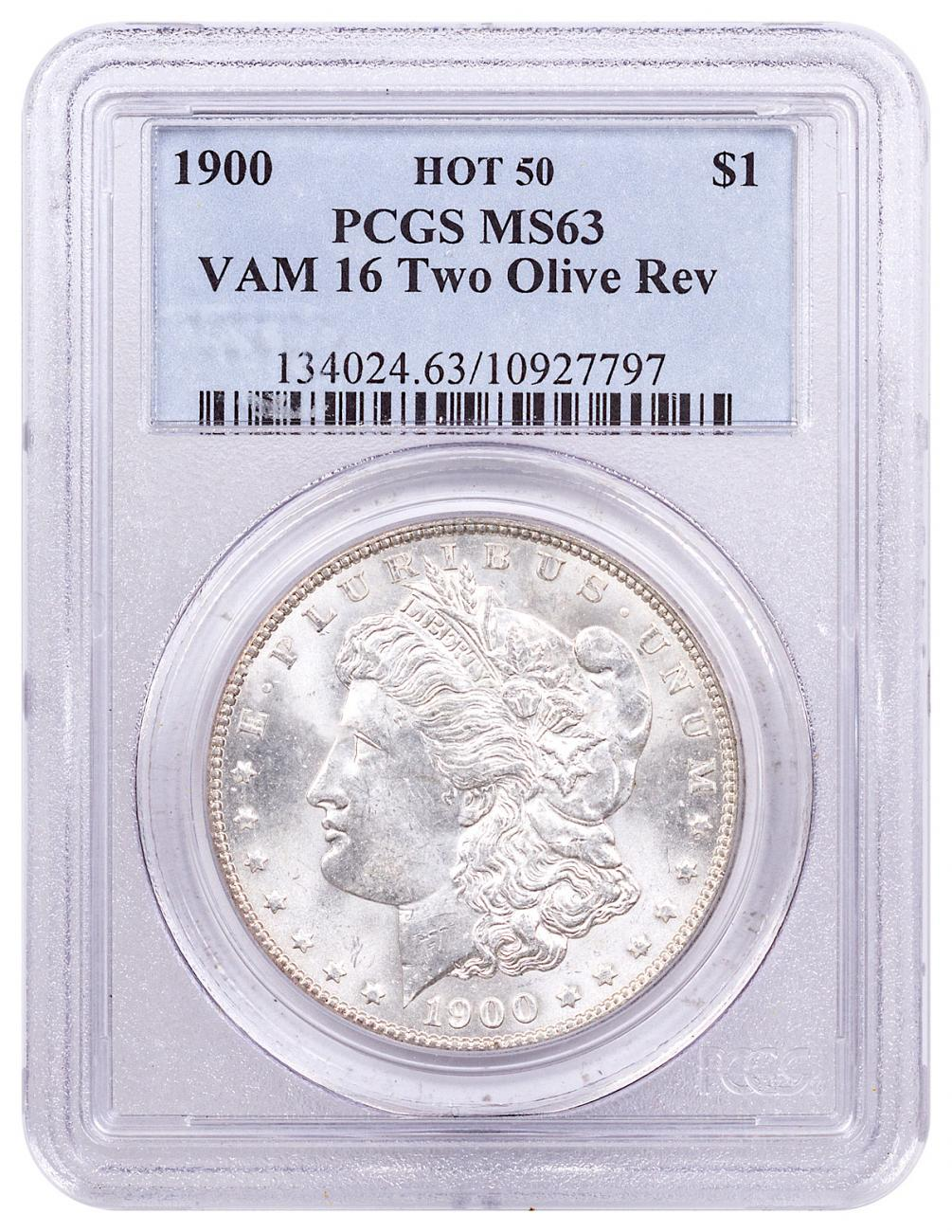 1900 Morgan Silver Dollar Hot 50 PCGS MS63 VAM-16 Two Olive Reverse